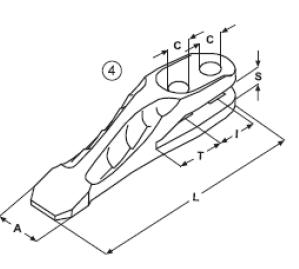 Vidlicový zub typu JCB E 26