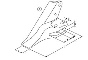 Vidlicový zub typu Komatsu E 27 L