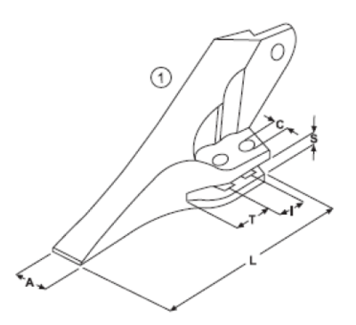 Vidlicový zub typu JCB E 25 L