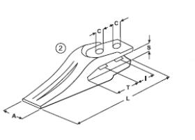 Vidlicový zub typu Komatsu E 27